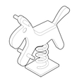 Horse spring see saw icon outline style vector image