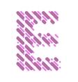 Striped latin alphabet letter E Hatching font vector image