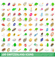 100 switzerland icons set isometric 3d style vector image