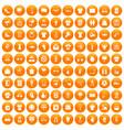 100 t-shirt icons set orange vector image