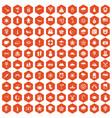 100 star icons hexagon orange vector image