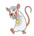 cartoon smiling white rat with a gold medal vector image