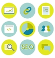 SEO flat icons set Search optimization web vector image