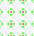 White geometrical ornament with green and pink vector image