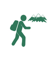 Hiking and mountains icon vector image