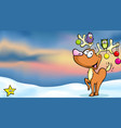 christmas winter landscape background with funny vector image