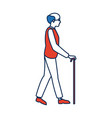 elderly man walking with cane cartoon vector image
