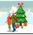 family decorating christmas tree vector image