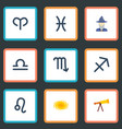 flat icons zodiac sign optics ram and other vector image