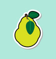 pear sticker on blue background colorful fruit vector image