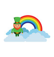 standing cartoon leprechaun on cloud rainbow vector image