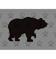Walking bear silhouette icon over pattern vector image