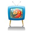 A television show with a big orange piranha vector image vector image
