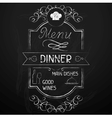 Dinner on the restaurant menu chalkboard vector image