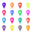 set of colorful map pointers with hotel services vector image