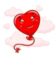 Red heart flying among clouds vector image vector image