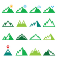 Mountains nature green icons set vector image