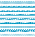 Seamless wave line pattern borders set vector image