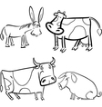 farm animals set for coloring vector image
