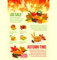 Autumn season big sale banner template design vector image