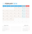 calendar planner for february 2018 vector image