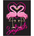 couple of pink flamingos and heart vector image