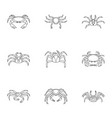 crab icons set outline style vector image