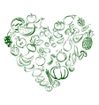 Heart from food fruits and vegetables icon sketch vector image