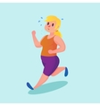 Obese young woman running Funny cartoon vector image
