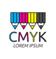 pencils of cmyk colors vector image