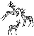 silhouette of stylized deers vector image