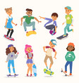 skateboard young people boy and girl vector image