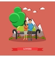 Couple sitting on bench with mountain background vector image