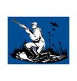 hunter aiming shotgun rifle at duck vector image