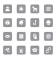 gray flat icon set 7 on rounded rectangle vector image