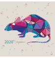 The 2020 new year card with Rat made of triangles vector image vector image