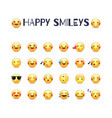 happy smileys icon set joy emoticons pictograms vector image