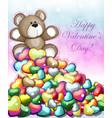 little teddy bear with hearts vector image
