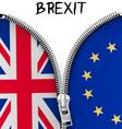 Zipper dividing UK and EU in a Brexit concept vector image