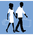 man and woman with shopping bags vector image vector image
