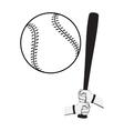 Hands holding baseball bat and big ball vector image