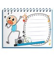 A notebook with a drawing of a boy singing vector image vector image