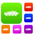 armored personnel carrier set collection vector image