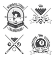 Set of billiards emblems labels and designed eleme vector image