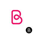 Letter B logo monolyne wireframe style vector image