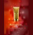 cosmetic tube on red shiny backdroppremium ads vector image