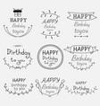 hand drawn happy birthday typographic set vector image
