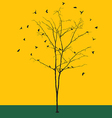 Leafless tree with birds silhouettes vector image