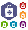 duty free shopping bag icons set vector image