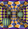 optical of rotation of three balls around of a vector image